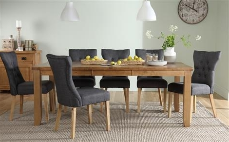 Highbury Oak Extending Dining Table With 8 Duke Slate Chairs Only With Regard To Well Known 8 Dining Tables (View 11 of 20)