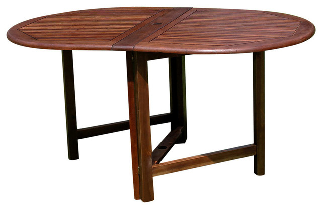 Highland Acacia Miami Oval Gate Leg Folding Dining Table,brown Throughout Widely Used Oval Folding Dining Tables (View 7 of 20)