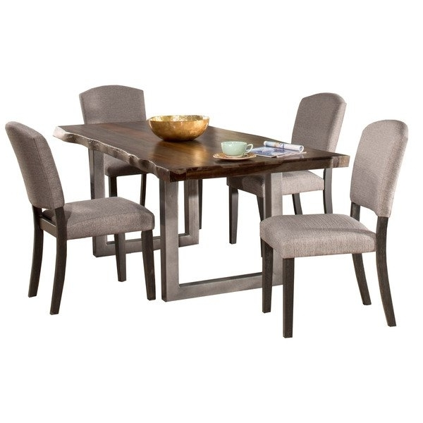 Hillsdale Furniture Emerson Grey Sheesham 5 Piece Rectangular Dining Pertaining To Most Popular Caden 6 Piece Rectangle Dining Sets (View 14 of 20)