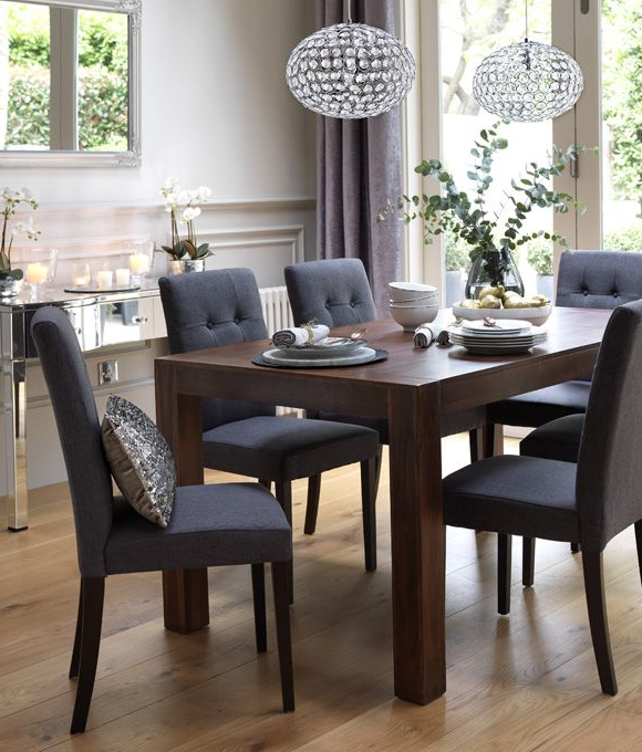 Home Dining Inspiration Ideas. Dining Room With Dark Wood Dining Inside 2017 Dining Tables And Fabric Chairs (Gallery 20 of 20)