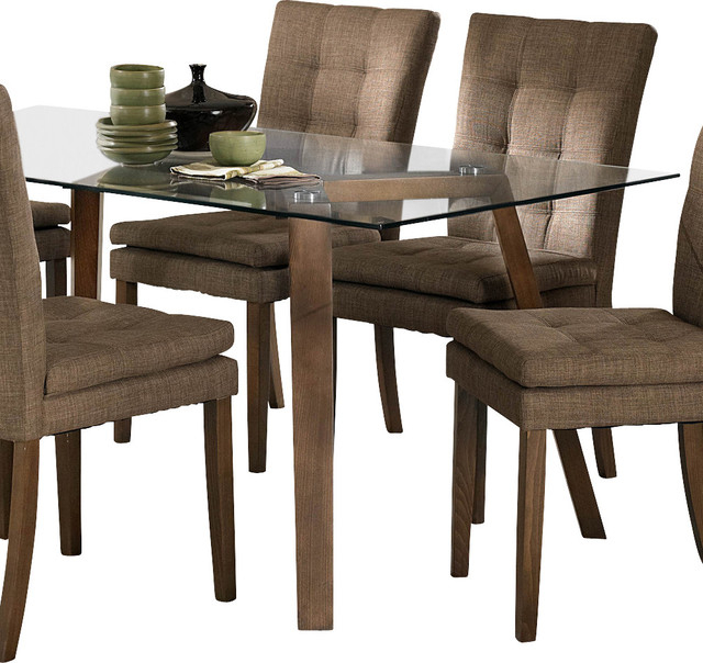 Homelegance Maitland Glass Top Dining Table With Beech Wood Legs Within 2017 Glass Dining Tables With Wooden Legs (View 5 of 20)