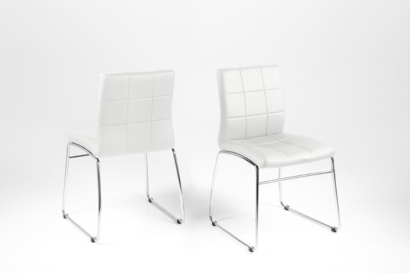 Hot Dining Chair – White Leather Look With Chrome Legs – Homestreet In 2017 Chrome Leather Dining Chairs (View 13 of 20)