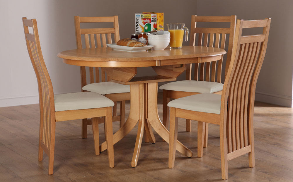 Hudson Bali Round Extending Oak Dining Table And 4 6, Oak Extending In Latest Oak Extending Dining Tables And Chairs (View 6 of 20)