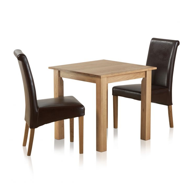 Hudson Dining Set In Natural Oak – Table + 2 Leather Chairs Within Preferred Hudson Dining Tables And Chairs (View 6 of 20)