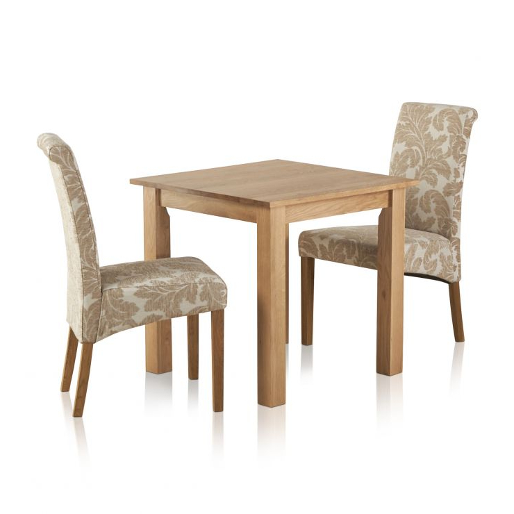 Hudson Dining Tables And Chairs Intended For Most Current Hudson Dining Set In Solid Oak: Table + 2 Patterned Beige Chairs (View 13 of 20)