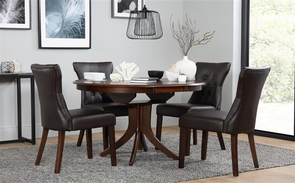 Hudson Round Dark Wood Extending Dining Table And 6 Chairs Set Intended For Well Known Dark Wood Dining Tables And 6 Chairs (View 12 of 20)