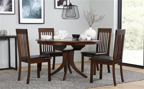 Hudson Round Dark Wood Extending Dining Table With 6 Regent Oatmeal Intended For Famous Dark Wood Dining Tables And 6 Chairs (View 13 of 20)