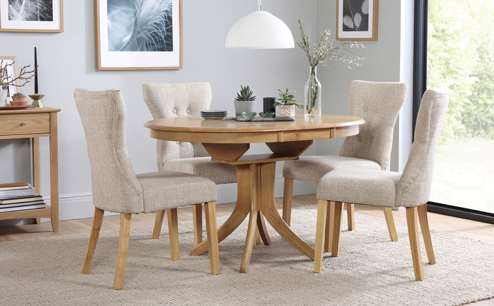 Hudson Round Extending Dining Table & 4 Chairs Set (Bewley Oatmeal Within Famous Extending Dining Tables And 4 Chairs (View 6 of 20)