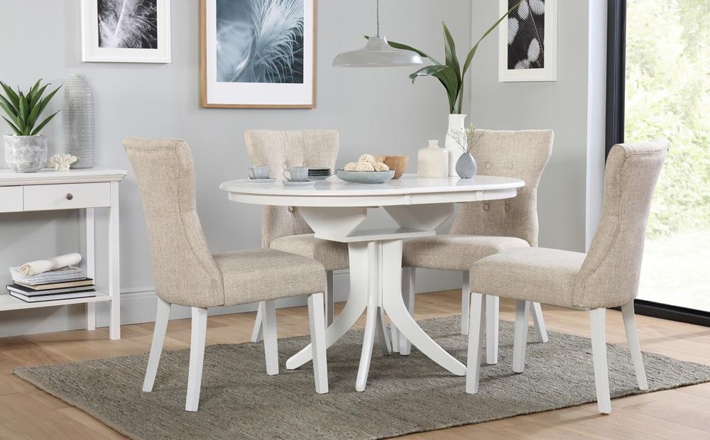 Hudson Round White Extending Dining Table With 4 Bewley Oatmeal For Well Known Dining Room Chairs Only (View 14 of 20)