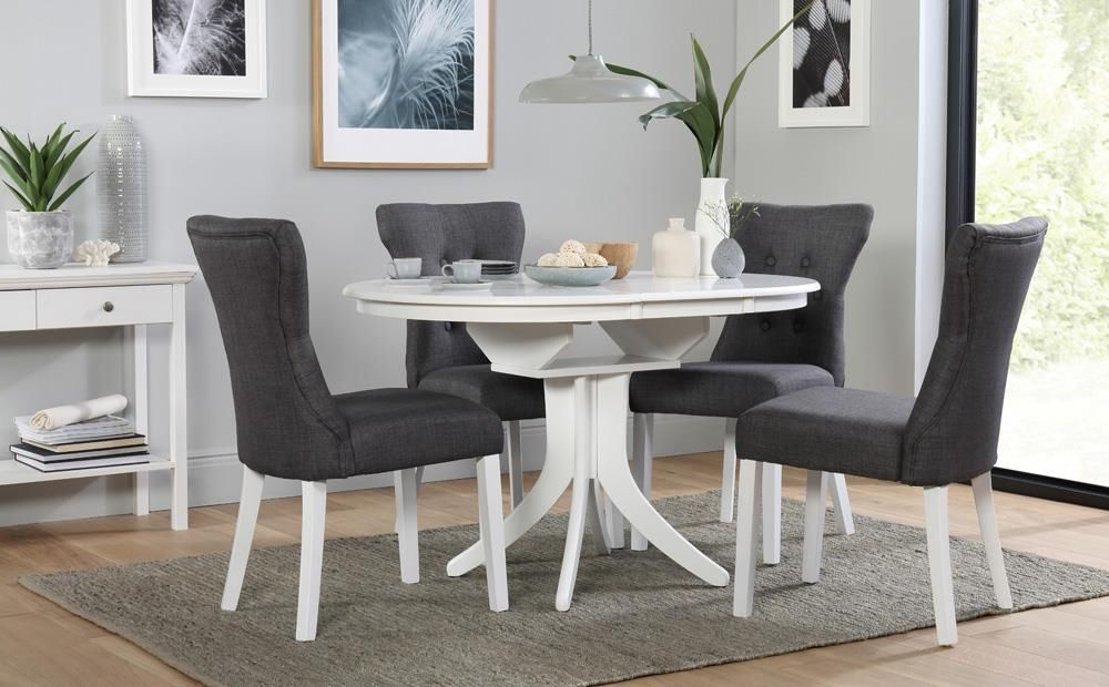 Hudson Round White Extending Dining Table – With 4 Bewley Slate For Current Rocco 7 Piece Extension Dining Sets (View 8 of 20)