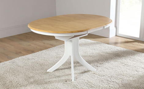 Hudson White Two Tone Round Extending Dining Room Table 90 120 Small Inside Preferred Round White Extendable Dining Tables (View 11 of 20)