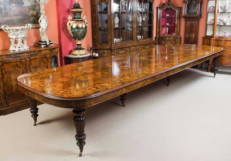 Huge Bespoke Handmade Marquetry Walnut Extending Dining Table 18 With Famous Walnut Dining Table Sets (View 9 of 20)