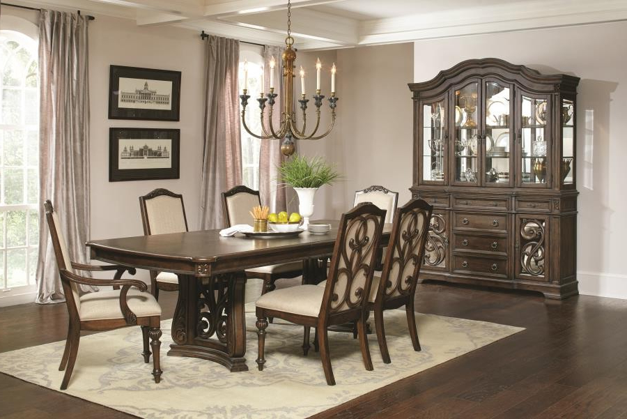 Ilana Traditional Antique Java Rectangular Formal Five Piece Dining Throughout Best And Newest Java Dining Tables (View 4 of 20)