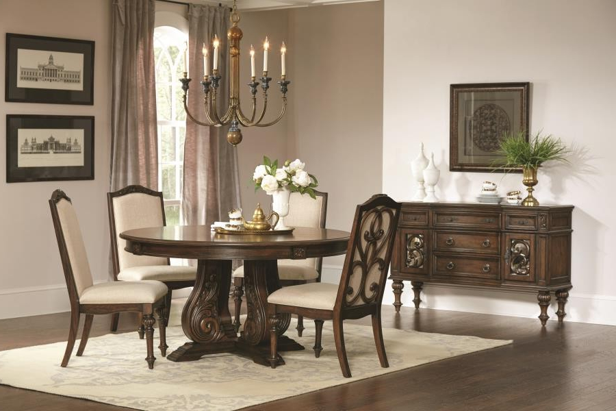 Ilana Traditional Antique Java Round Formal Five Piece Dining Table Pertaining To Most Popular Java Dining Tables (View 10 of 20)