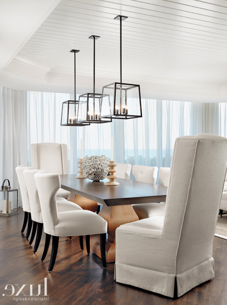 In This Stunning Dining Room, Three Holly Hunt Light Fixtures Are For Preferred Lights Over Dining Tables (View 3 of 20)