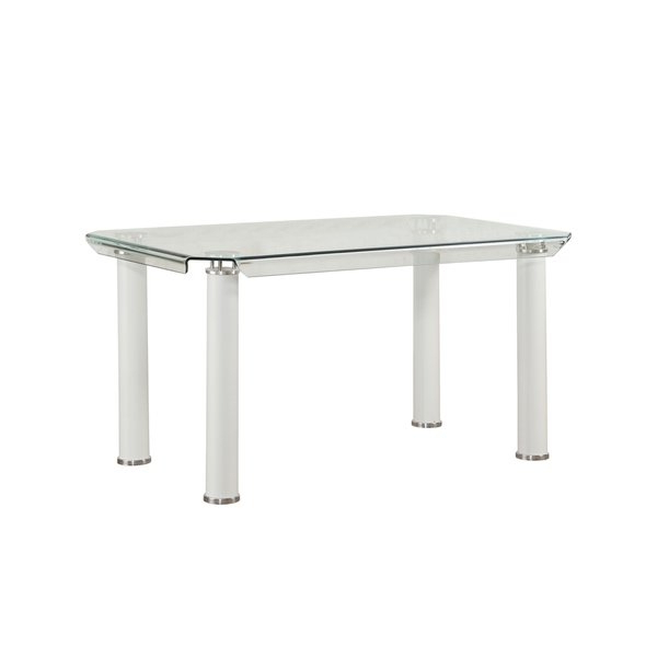 Ina Matte Black 60 Inch Counter Tables With Frosted Glass Throughout Current Shop Acme Gordias Glass Dining Table In White – Free Shipping Today (View 3 of 20)