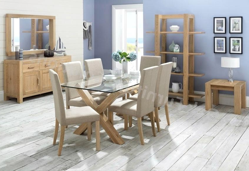 Incredible Oak Table Chairs Nite Glass Dining Room Furniture With Regard To Preferred Oak And Glass Dining Tables Sets (View 7 of 20)