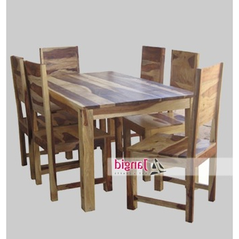 Indian Dining Tables And Chairs Inside Most Popular Natural Indian Sheesham 6 Seaters Wooden Dining Tables And With (View 9 of 20)