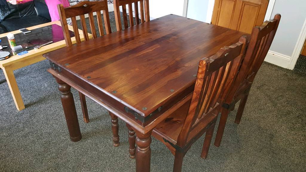 Indian Sheesham Dining Table And 4 Chairs (Gallery 7 of 20)