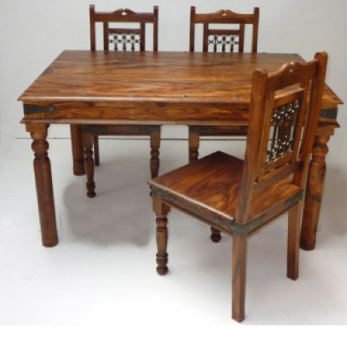 Indian Style Dining Tables Pertaining To Best And Newest Indian Jali 135cm Dining Table & 4 Chairs (View 7 of 20)