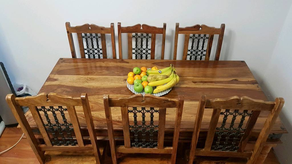 Indian Wood Dining Table And 6 Chairs (View 2 of 20)
