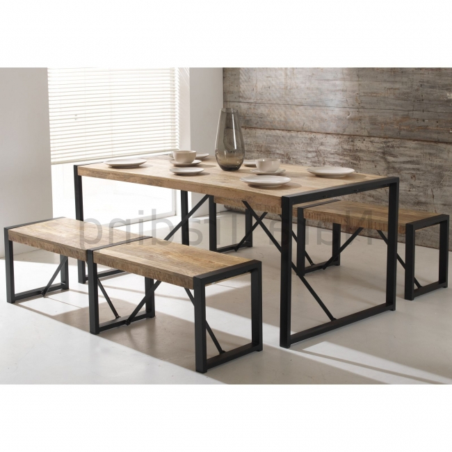 Indian Wood Dining Tables With Well Liked Harbour Indian Reclaimed Wood Furniture Dining Table With Two Large (Gallery 14 of 20)