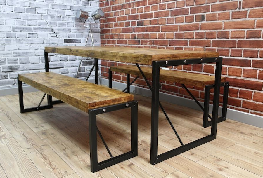 Industrial Dining Table Steel & Reclaimed Wood / Benches / Set (View 6 of 20)