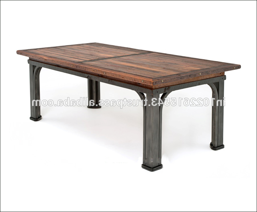 Industrial Reclaimed Wood Dining Table With Metal Legs, View Wood Intended For Most Popular Iron And Wood Dining Tables (View 7 of 20)