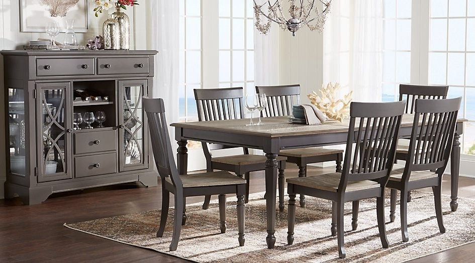 Interior. Gray Dining Room Set: Cindy Crawford Home Ocean Grove Gray Within Recent Cora 5 Piece Dining Sets (Gallery 17 of 20)