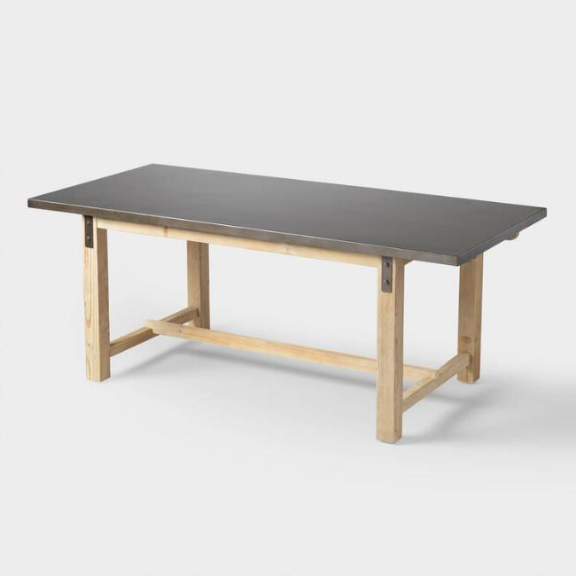 Iron And Wood Dining Tables Throughout Favorite Wyatt Metal Top Wood Dining Table (View 10 of 20)