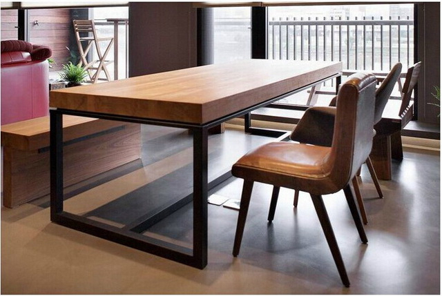 Iron And Wood Dining Tables Throughout Widely Used European Solid Wood Dining Table Rectangular Wood Dining Tables (View 11 of 20)