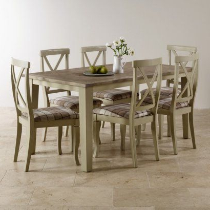 Isabella Dining Tables With Widely Used Isabella Brushed Acacia And Painted Dining Set – 5Ft Table With  (View 9 of 20)