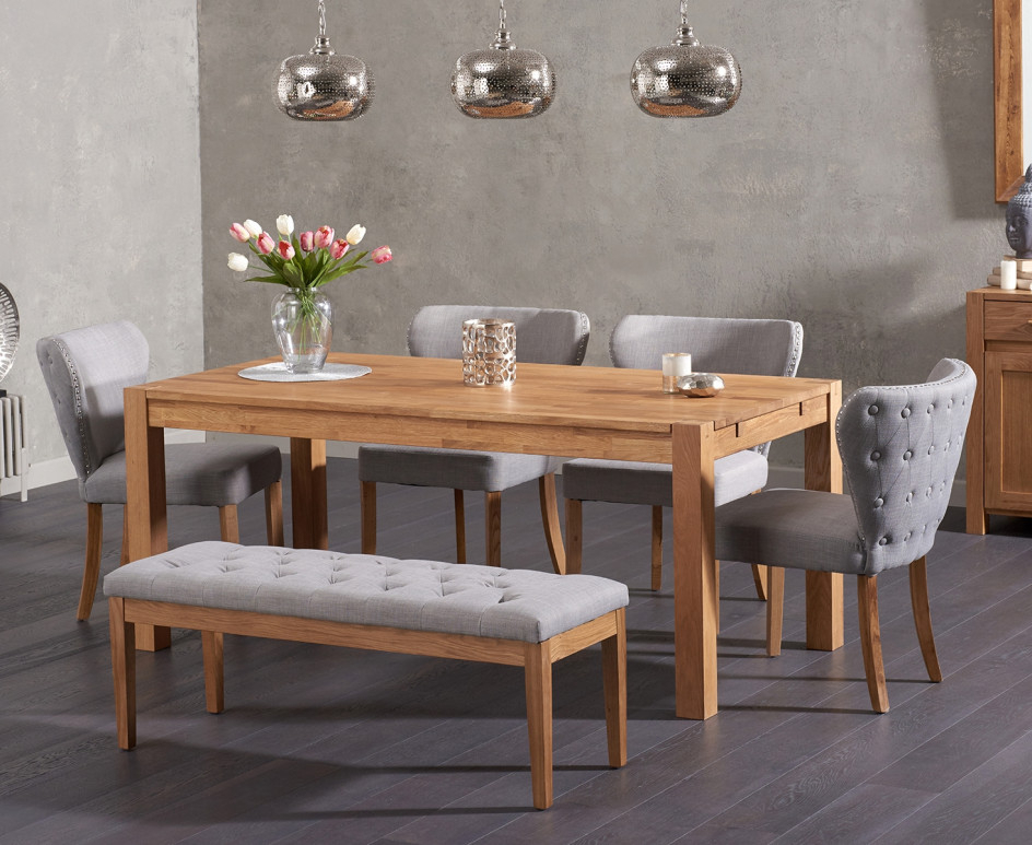 Isabella Dining Tables Within Trendy Verona 180Cm Solid Oak Dining Table And Isabella Fabric Chairs And (Gallery 19 of 20)