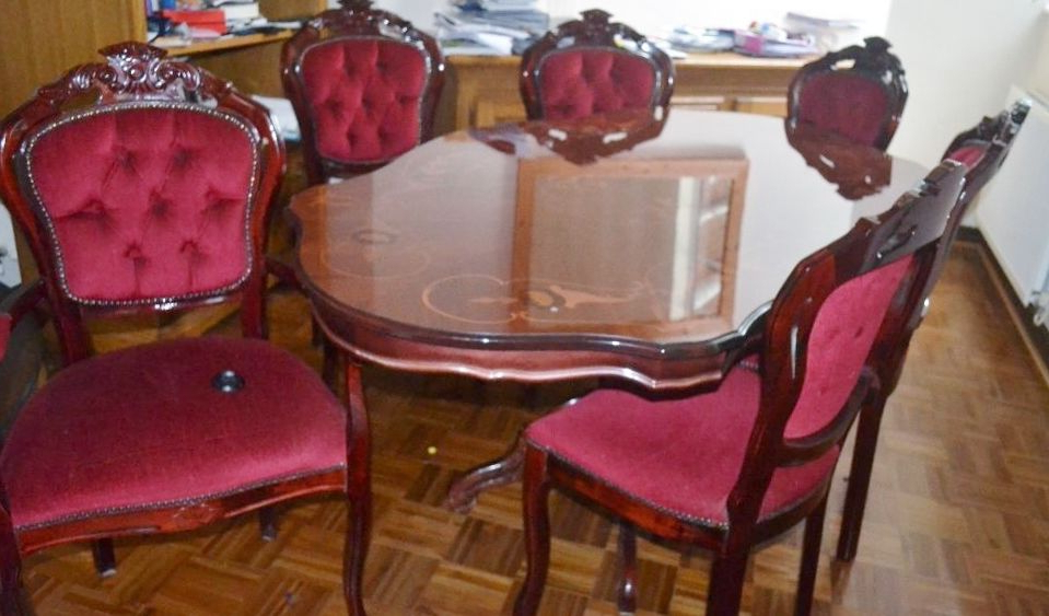 Italian Style Rocco Dining Table And Six Chairs. (Gallery 17 of 20)