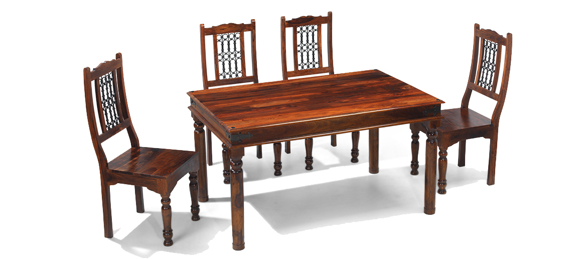 Jali Sheesham 120 Cm Thakat Dining Table And 4 Chairs (View 6 of 20)