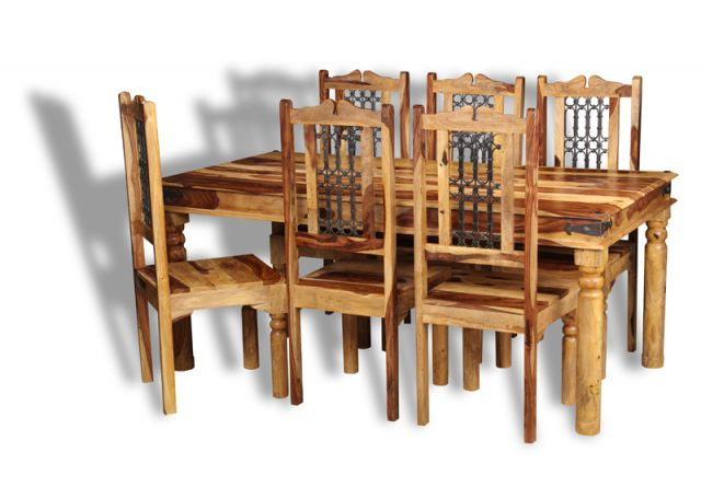 Jali Sheesham Dining Table And Chairs For Latest Sheesham Wood Dining Chairs (View 17 of 20)