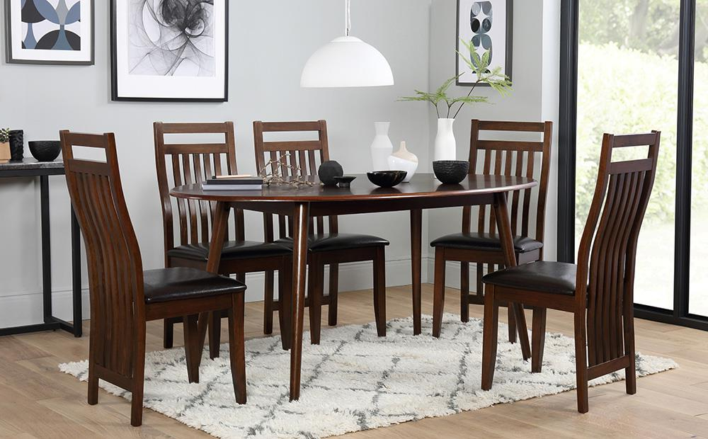 Java Dining Tables Within Famous Suffolk Oval Dark Wood Dining Table With 4 Java Chairs (Brown Seat (Gallery 15 of 20)