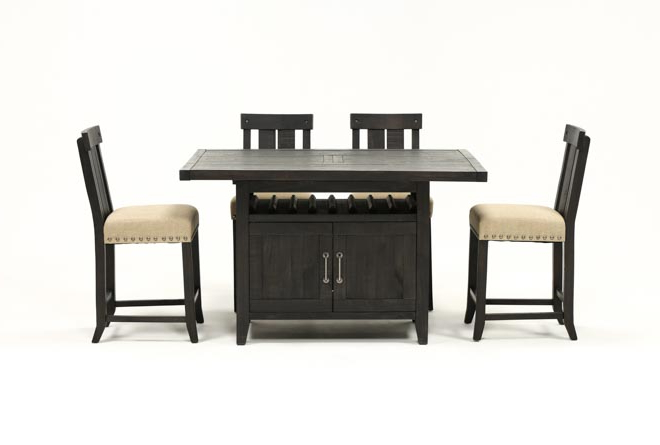 Featured Photo of Jaxon 5 Piece Extension Counter Sets With Fabric Stools