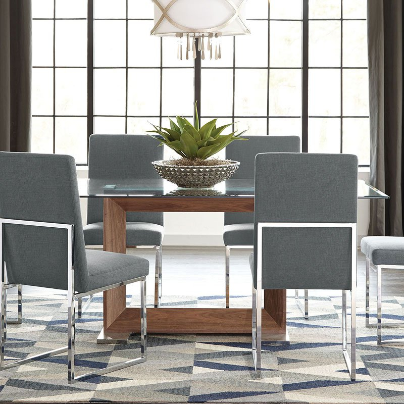 Jaxon 5 Piece Round Dining Sets With Upholstered Chairs Intended For Best And Newest Jackson Modern Glass Dining Set W/ Grey Chairs – Dining Room And (Gallery 13 of 20)