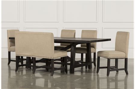 Jaxon 6 Piece Rectangle Dining Set W/bench & Wood Chairs (Gallery 8 of 20)