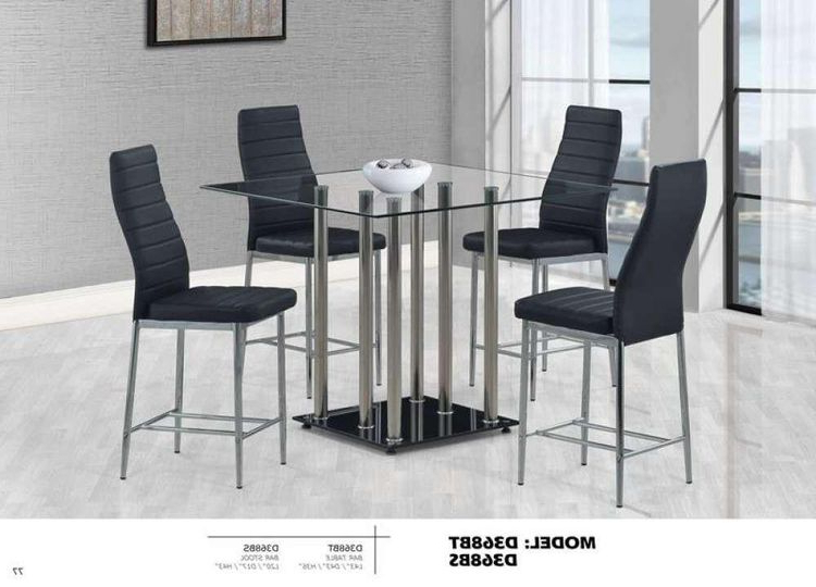 Jaxon Grey 5 Piece Extension Counter Sets With Fabric Stools With Famous Global Furniture Bar Table Black (View 4 of 20)