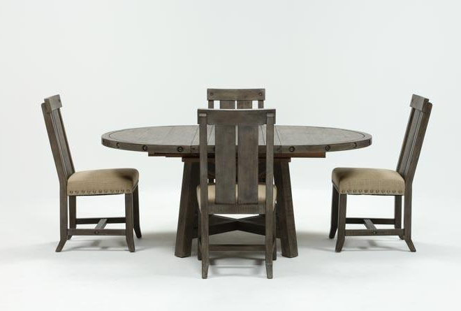 Jaxon Grey 5 Piece Round Extension Dining Set W/wood Chairs (Gallery 1 of 20)