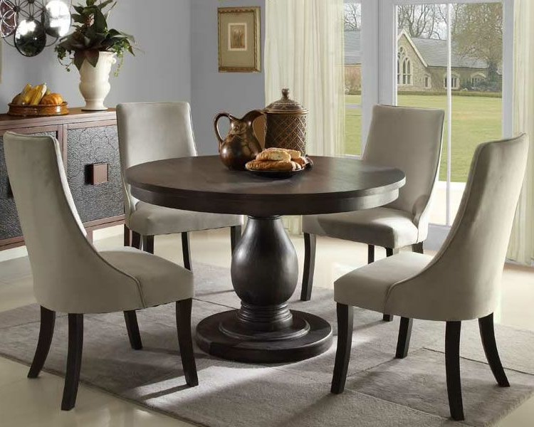 Jaxon Grey 5 Piece Round Extension Dining Sets With Upholstered Chairs With Preferred Dandelion 5 Piece Dining Set With Pedestal Round Table & Parson (View 11 of 20)