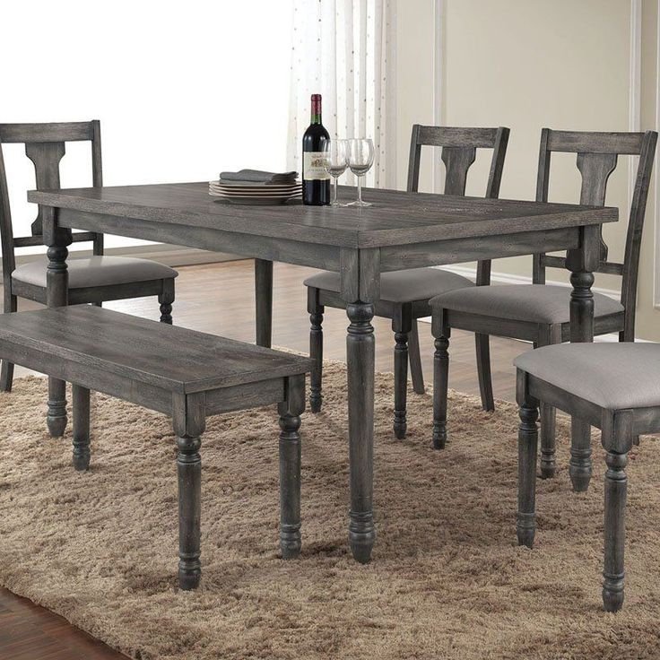 Jaxon Grey 6 Piece Rectangle Extension Dining Sets With Bench & Wood Chairs Throughout Most Recent Enjoyable Design Grey Wood Dining Set Table Weathered Gray Round And (View 5 of 20)