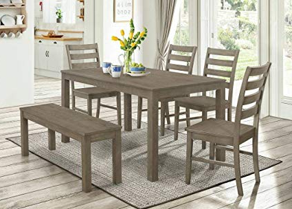 Jaxon Grey 6 Piece Rectangle Extension Dining Sets With Bench & Wood Chairs With Regard To Well Known Splendid Design Ideas Grey Wood Dining Set Jaxon 6 Piece Rectangle (View 7 of 20)