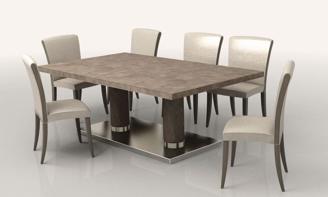 Jaxon Grey 7 Piece Rectangle Extension Dining Sets With Wood Chairs For Famous Dining Room Low Poly (View 7 of 20)