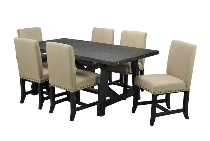 Jaxon Grey 7 Piece Rectangle Extension Dining Sets With Wood Chairs In Most Recently Released 9 Best Dining Room Images On Pinterest (View 11 of 20)
