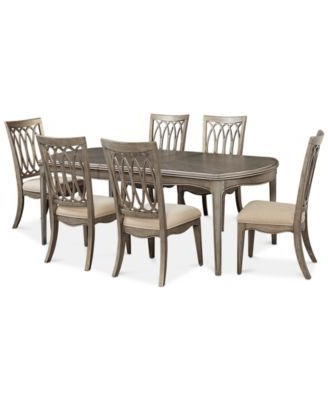 Jaxon Grey 7 Piece Rectangle Extension Dining Sets With Wood Chairs Regarding Widely Used Hayley 7 Pc (View 20 of 20)