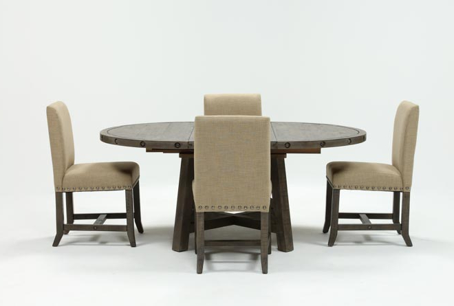 Jaxon Grey Round Extension Dining Tables For Well Known Jaxon Grey 5 Piece Round Extension Dining Set W/upholstered Chairs (View 6 of 20)