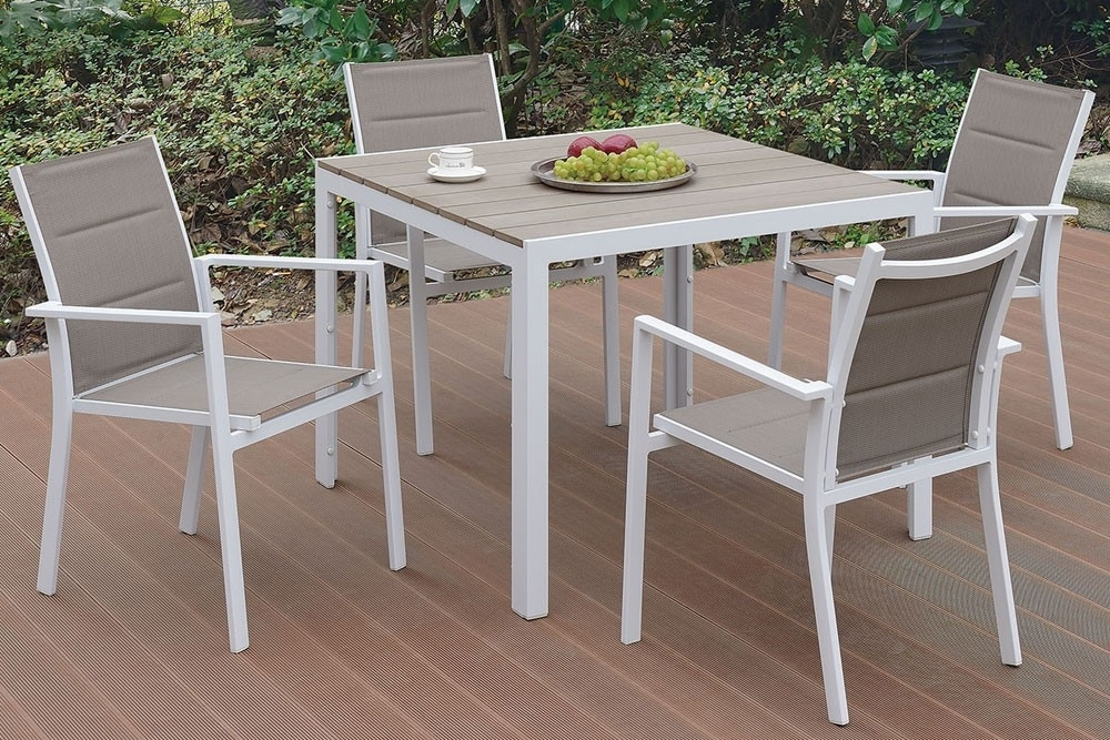 Jaxon Grey Wood Side Chairs Within 2018 Jaxon Outdoor 5 Piece Dining Table Set (View 10 of 20)
